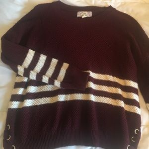 Maroon Sweater w/ White Stripes